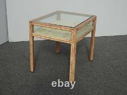 Vintage Mid Century Modern Bamboo Shadow Box End Table by McGuire Display Case