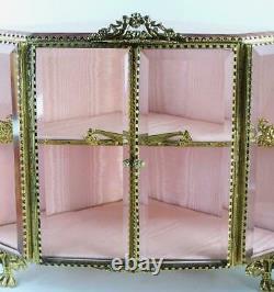 Vintage Ormolu Beveled Pink Glass Jewelry Box Table Vitrine Display Case 14x10
