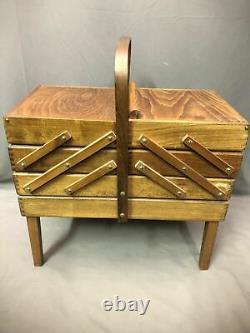 Vintage Wood 3 Tier Sewing Box Strommen Bruk Hamar Accordion Style Display Case