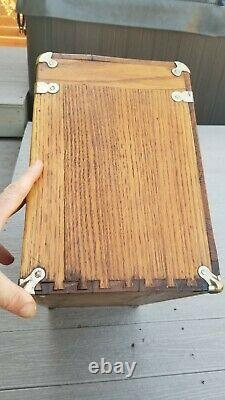 Vintage Wood Machinist Tool Box Cabinet 7 Drawer Jewelry Display Oak Felt Mirror
