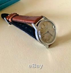 Vintage mens 60s eterna-matic cyclops eye date watch in display case & outer box