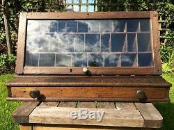 Vintage wooden shop display case habersdashery thread or ironmongery