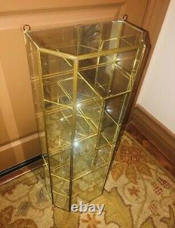 Vtg Brass Glass Table Top or Hanging Curio Cabinet Display Shelf Case Box 27