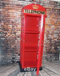 WOOD BRITISH RED TELEPHONE BOX DISPLAY CABINET / BOOK CASE 130 cm HIGH