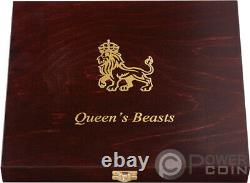 WOODEN CASE Box Queen Beasts Series 2 Oz Display 10 Silver Coins Holder