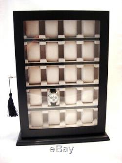 Wall Mounted Watch Storage Cabinet Chest Box Display Wooden Case Matt Black
