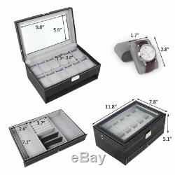 Watch Box Double-Layer 12 Slot Organizer Case Display Glass with Jewelry Drawer
