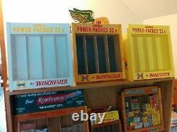 Winchester 22 ammo boxes, shotgun shell boxes, blasting cap tins display case