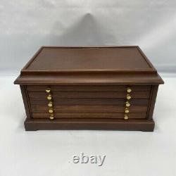 Wood Brass Medal Chest 5 Drawer Coin Case 48+ Silver Dollar Display Storage Box