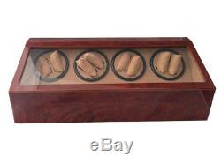 Wood Dual Double Quad Automatic Watch Winder Burl Storage Display Case Box 8+12