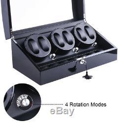 XTELARY 3 Motors Automatic Rotation 6+7 Watch Winder Storage Case Display Box