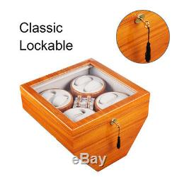XTELARY 4 Motors Automatic Rotation 8 Watch Winder Storage Case Display Box
