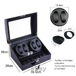 XTELARY Leather Automatic Rotation 4+6 Watch Winder Storage Case Display Box