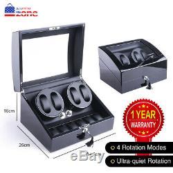 XTELARY Luxury Automatic Quad 2 Motor Watch Winder Display Box Case Storage 4+6