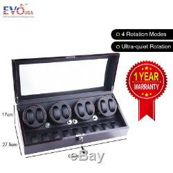 XTELARY Luxury Ebony Automatic Quad Four Motor Watch Winder Display Box Case 8+9
