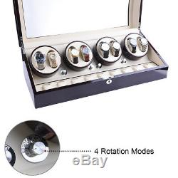 XTELARY Luxury Ebony Quad Automatic Four Motor Watch Winder Display Box Case 8+9